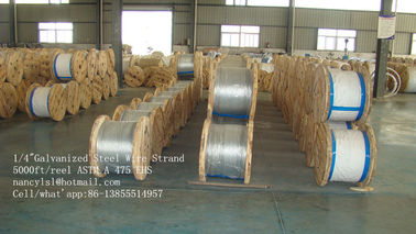 Cina ASTM A 475 5000 Ft / Reel 1 4 Galvanized Aircraft Cable Wire Rope For Guy Wire pabrik